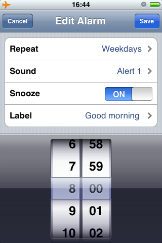 Using the iPhone alarm clock